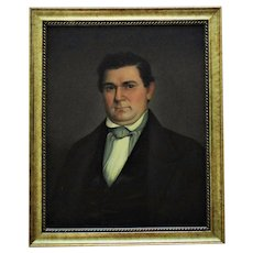 1 of 2 - 19th c. Portrait Painting Gentleman Husband Oil on Canvas Antique American School