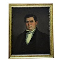 19th c. Portrait Painting Gentleman Man Oil on Canvas Antique American School