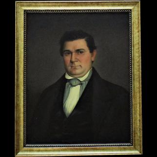 19th c. Portrait Painting Gentleman Man Oil on Canvas Antique American School