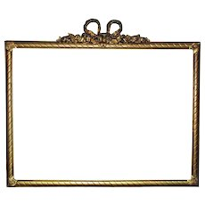 "19th c. Victorian Picture Frame Antique Ribbon Bow Roses Wood & Gesso fits 22 1/4"" x 30 1/4"" Painting Mirror or Print"