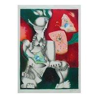 Alexandra Nechita VICTORIOUS SPIRIT Lithograph 323/2500 Modernist Butterflies Signed