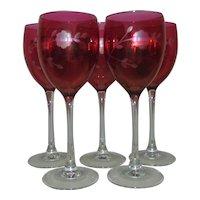 Set of 5 Bohemian Cranberry Wine Glasses Etched Glass Stems Stemware Czech Czechoslovakian