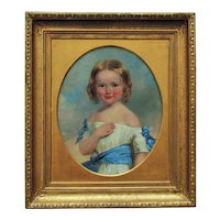 19th c. Portrait Painting Girl Child Oil on Canvas Antique Victorian American School
