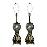Pair of Eglomise Table Lamps Mid Century Modern Fornasetti Style