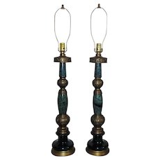 Pair Tall Table Lamps Mid Century Modern  Brass & Faux Malachite Brutalist