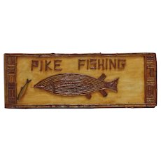 LARGE Vintage Adirondack Wood Pike Fishing Sign Fish Fisherman