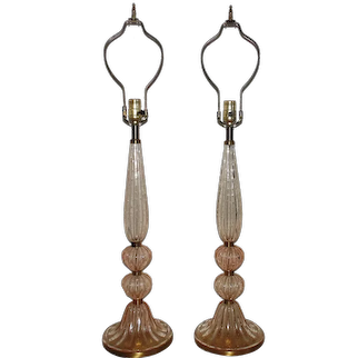 Pair of Table Lamps Italian Murano Pink Glass Controlled Bubble Mid Century Modern