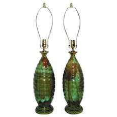 Pair of Beehive Table Lamps Drip Glaze Greens & Browns Mid Century Modern Ceramic