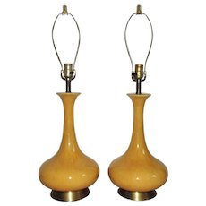 Pair of Table Lamps Mustard Yellow Glaze Mid Century Modern