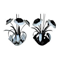 Pair of LARGE Vintage Floral Sculptures Black & White Acrylic Flowers Modern