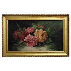 Still Life Oil Painting Roses Flowers & Bees after Paul de Longpre