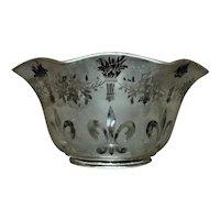 1 of 4 Vintage Lamp Chandelier Shades Gas Oil Etched Glass Victorian Style Fleur de Lis Torches Flowers