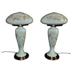 Pair of Art Deco Table Lamps Mushroom Shades Nouveau Set