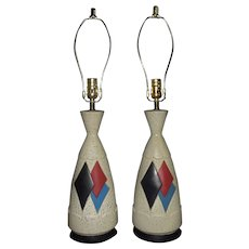Pair of Vintage Argyle Table Lamps Mid Century Modern Ceramic Set