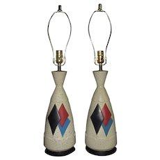 Pair of Vintage Argyle Table Lamps Mid Century Modern Ceramic Set