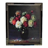 LARGE Vintage Still Life Painting Flowers Floral Oil on Canvas Signed A. C. Hummel