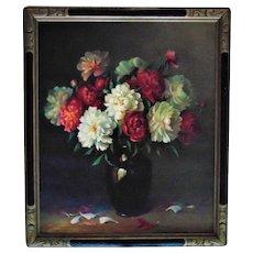 LARGE Vintage Still Life Painting Flowers Floral Oil on Canvas Signed A. C. Hummel