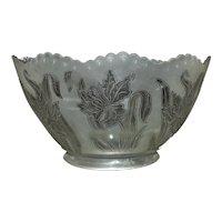 1 of 4 Vintage Lamp Chandelier Shades Gas Oil Etched Glass Art Nouveau Style Flowers Floral