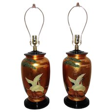 Pair of Vintage Gold Chinoiserie Table Lamps w/ Birds Herons Chinese Asian Oriental