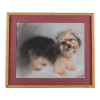 Vintage Pastel Painting Portrait of a Yorkie Dog