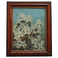 19th c. Still Life Painting Oil on Canvas Antique Victorian Floral Flowers
