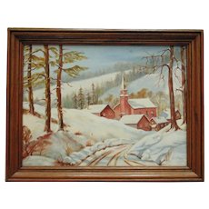 Vintage Country Winter Landscape Oil Painting w/ Houses & Church