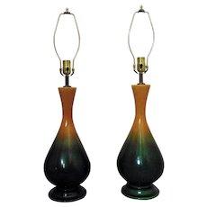 Pair of  Ceramic Table Lamps Mid Century Modern Green & Mustard Yellow