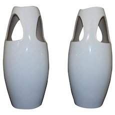 Pair of Vintage White Table Lamps Mid Century Modern Style
