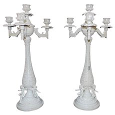Pair of White Antique Candelabra w/ Cherubs Candle Holders Victorian Shabby Cottage Chic