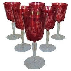 Set of 6 Bohemian Cranberry Glass Wine Glasses Acid Etched Flowers Floral