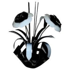 LARGE Vintage Floral Sculpture Black & White Acrylic Flowers Modern