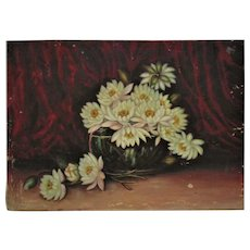 19th c. Still Life Painting Flowers Floral Oil on Canvas Antique Victorian Water Lilies