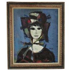 Vintage Portrait Painting Woman Lady Mid Century Modern Manner of Bernard Buffet Signed c. 1960s Surrealist