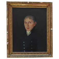 1 of 2 19th c. Portrait Paintings Man Gentleman Husband Oil on Canvas Antique British Naval Officer