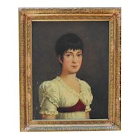 1 of 2 19th c. Portrait Paintings Woman Lady Wife of a British Naval Officer Oil on Canvas Antique