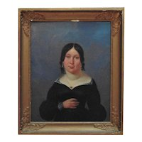1 of 2 - 19th c. Portrait Painting Woman Lady Wife Oil on Canvas Antique American School