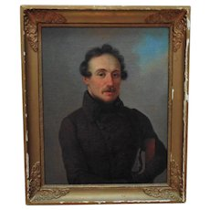 1 of 2 Portrait Paintings Man Gentleman Husband Oil on Canvas Antique
