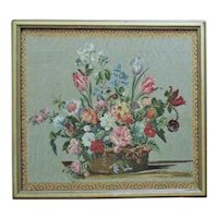 Vintage Needlework Still Life Flowers Floral Tulips Roses & More