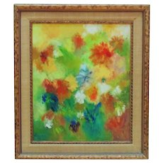 Still Life Painting Abstract Flowers Floral Mid Century Modern Acrylic on Board Signed