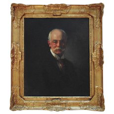 Antique Portrait Painting of a Man Gentleman Oil on Canvas Signed c. 1911