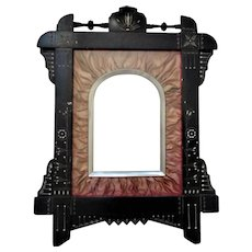 19th c. Aesthetic Picture Frame Ebonized Wood Victorian Eastlake Antique