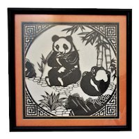Vintage Chinese Panda Bear Cut Paper Silhouette