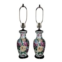 Pair of Chinoiserie Table Lamps Roses Floral Flowers Asian Chinese