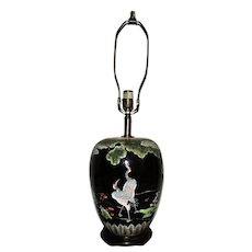 Chinese Ginger Jar Table Lamp Asian Oriental Chinoiserie Cranes Herons Birds