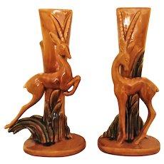 Pair Royal Haeger Vases Gazelles Mid Century Modern Ceramic Art Deco