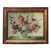 Vintage Still Life Oil Painting Flowers Floral Mid Century Modern Signed F. Pohleyn Munchen