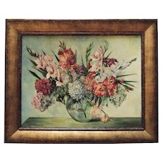 Vintage Still Life Oil Painting Flowers Floral Mid Century Modern Signed F. Pohleyn Munchen