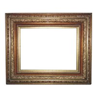 "19th c. Victorian Picture Frame Gilt Wood & Gesso Antique for Painting Print Mirror 16 1/4"" x 12"" Rabbet Opening"