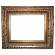 """19th c. Victorian Picture Frame Gilt Wood & Gesso Antique for Painting Print Mirror 16 1/4"""" x 12"""" Rabbet Opening"""