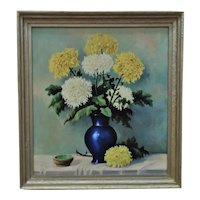 Vintage Still Life Painting Chrysanthemums Flowers Floral Mid Century Modern Signed H. Volz